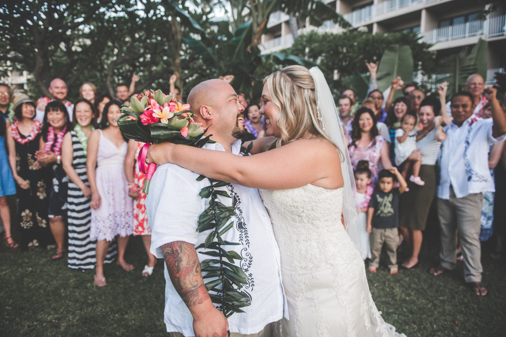 maui wedding embrace