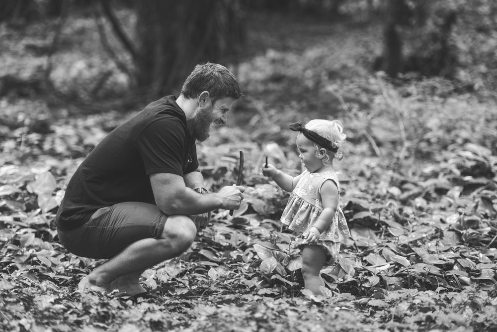 Dad and baby girl in gorgeous Maui forest