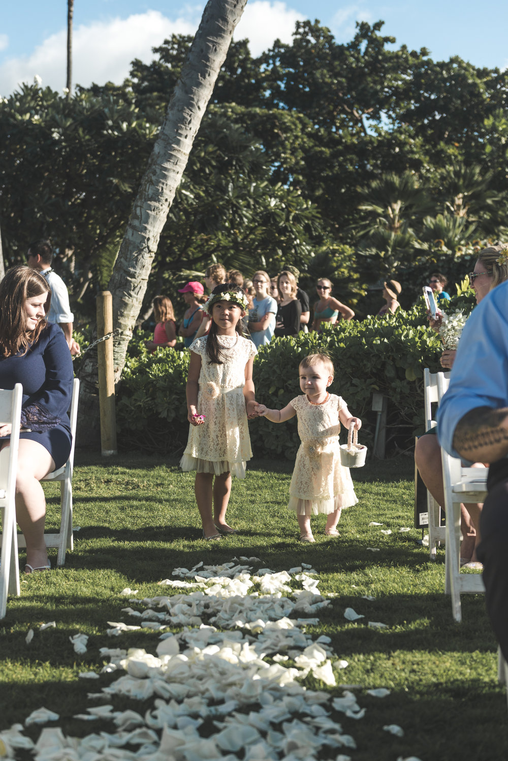two flower girls in maui wedding