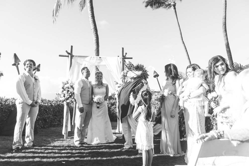 beachfront maui wedding in black and white