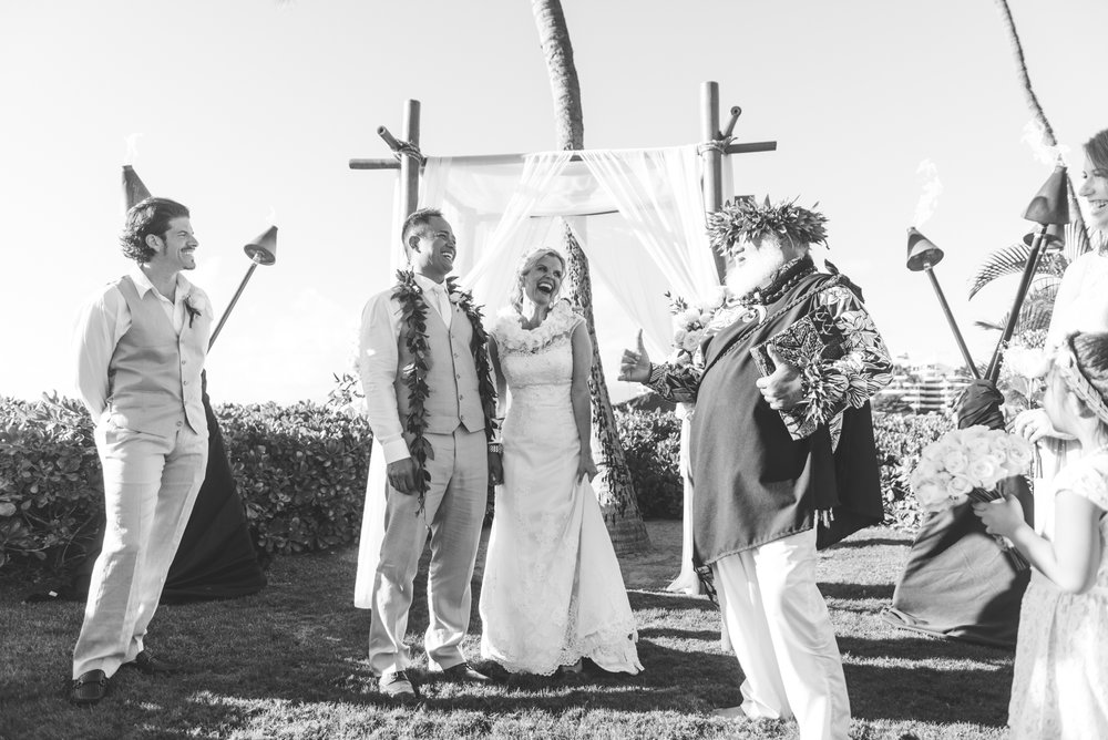 all smiles in gorgeous maui wedding