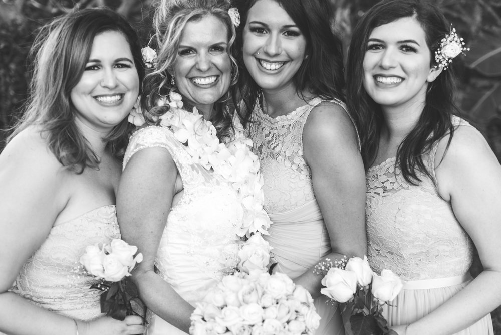 bride and bridesmaids in outdoor maui wedding
