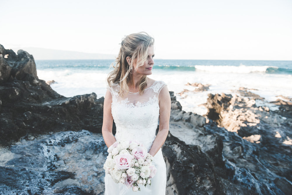 bride and bouquet portrait on maui beach