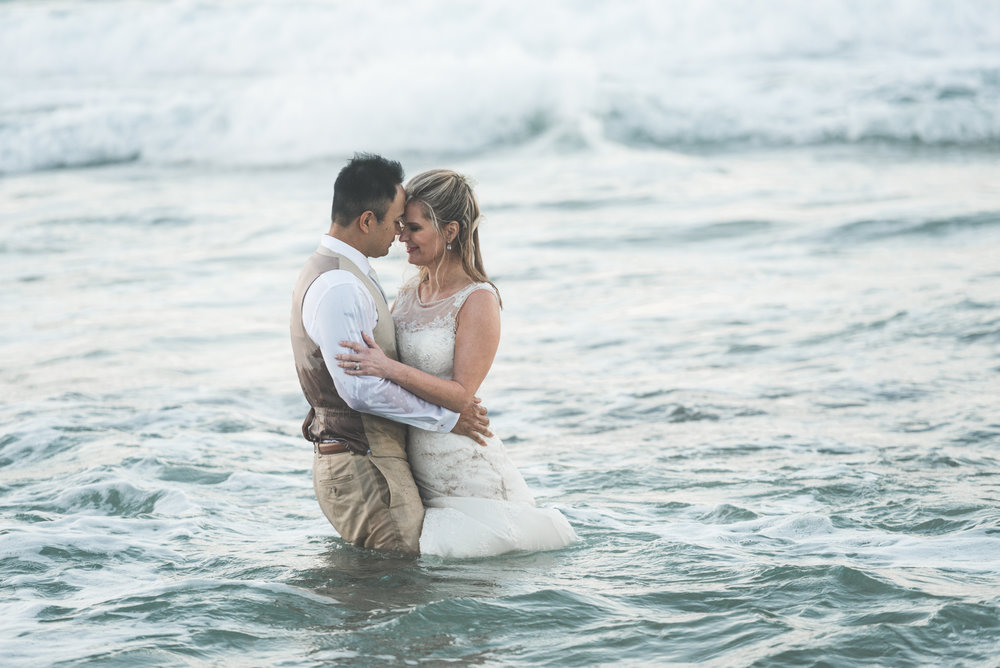 bride and groom trash the dress maui