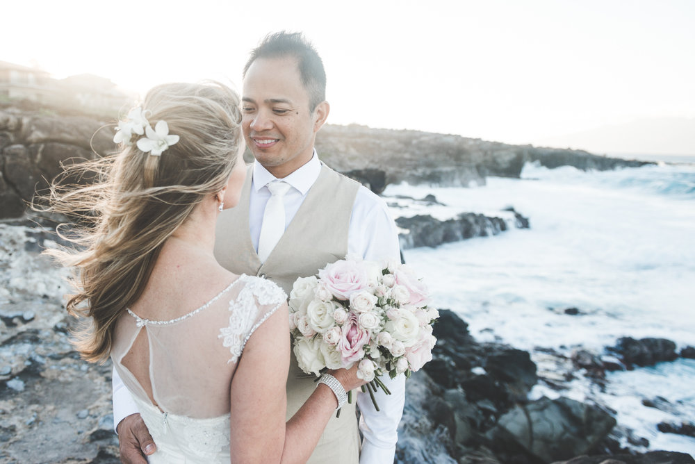wedding beach portrait on hawaiian beach