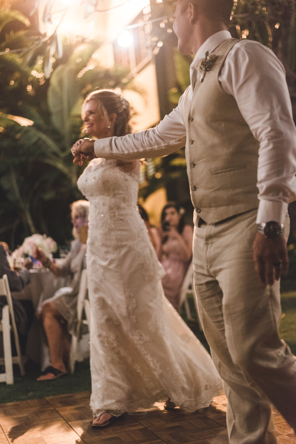romantic picture of bride and grooms first dance maui wedding