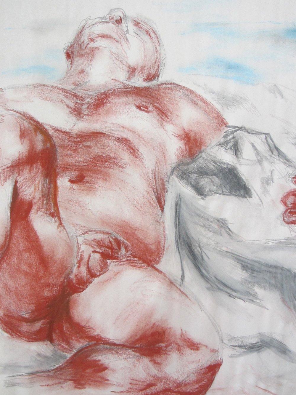"""Figural I conte +chalk pastel // 2015 // 24"""" x 18"""""""