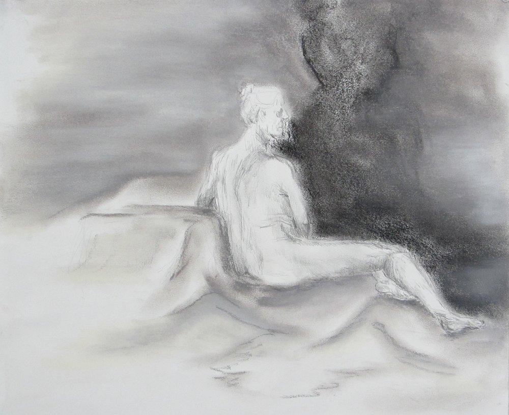 """Figural V graphite, charcoal + chalk pastel // 2015 // 14"""" x 17"""""""