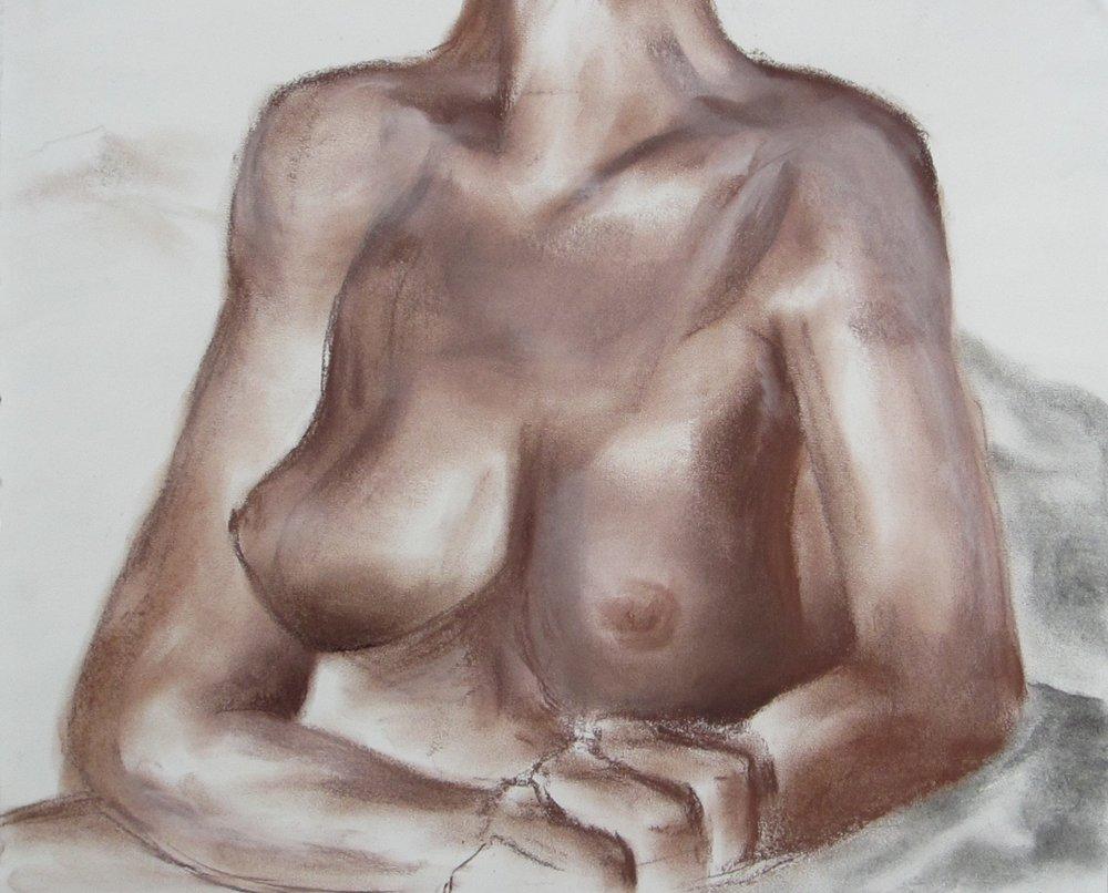 """Figural VI conte + chalk pastel // 2015 // 14"""" x 17"""""""