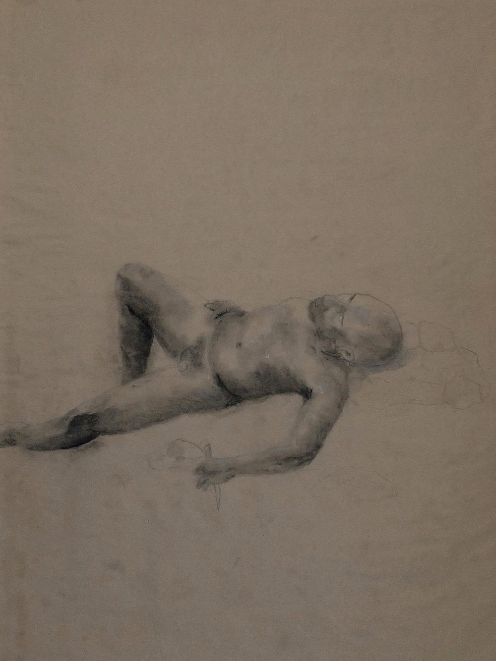 "Figural VIII charcoal + graphite // 2015 // 18"" x 24"""