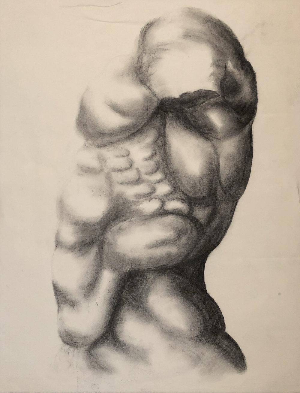 "Torso Study charcoal // 2014 // 18"" x 24"""