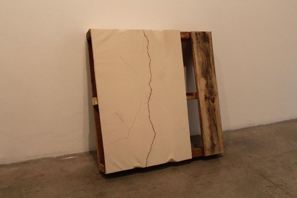 """Lemmon   2'4"""" x 0'5"""" x 2'4"""". wood pallet, copper, + canvas. 2017"""
