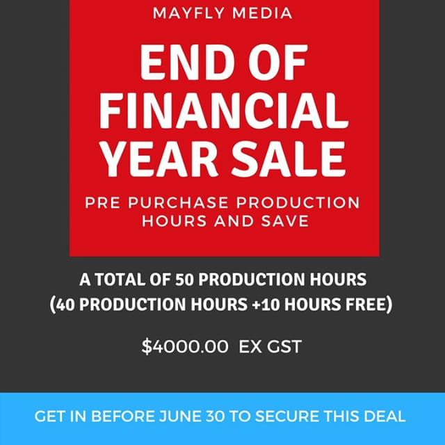 It's nearly the end of the financial year and we have a great deal on offer!  Receive 50 pre-purchase video production hours and save $1500.00.  Hurry, this offer ends June 30!  Get in touch to find out more:  info@mayflymedia.com.au  #canon #screenproduction #screenmedia #content_marketing #contentcreator  #contentcreation  #videoproduction #regionalbusiness #ecobusiness #landscapes #casestudyvideo #testimonials #eventcoverage #microdocumentary #environment #digitalmarketing #regionalaustralia #riverinalife #aerial #videoproduction #dji #video #endoffinancialyearsale #dronetechnology#visitnsw #visitwagga #talktous#waggaview #riverinavideographer #mayflymedia