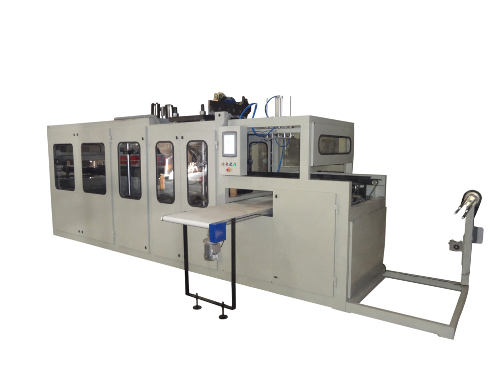 Pneumatic Version - The forming station is driven by pneumatic cylinders, punching station is servo driven and stacking is using pneumatic cylinders. The machine runs at max 15 cycles/min.