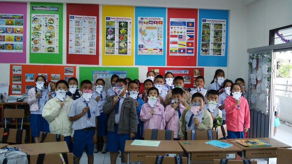 My class in Thailand with their Santa beards around Christmas!