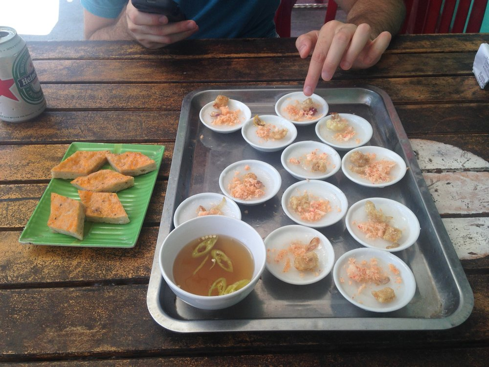 Banh Beo (right) and Cha Tom (left)