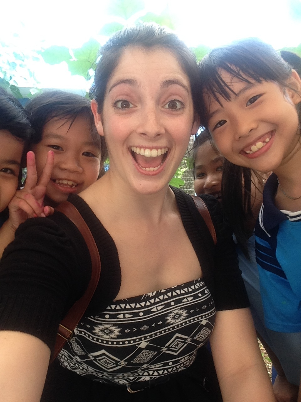 Me being a sweaty mess with some adorable kiddos!