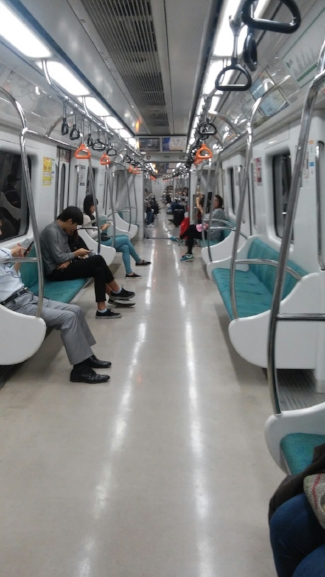 Inside the subway in Daejeon
