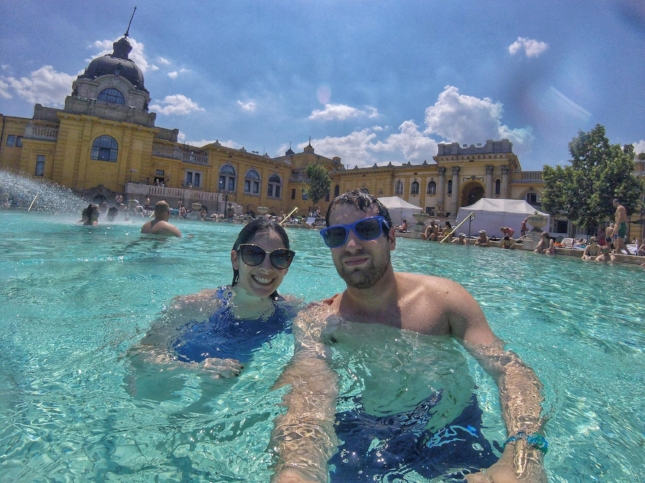 Matt and I (Marilyn) in one of the outdoor baths in Szechenyi!