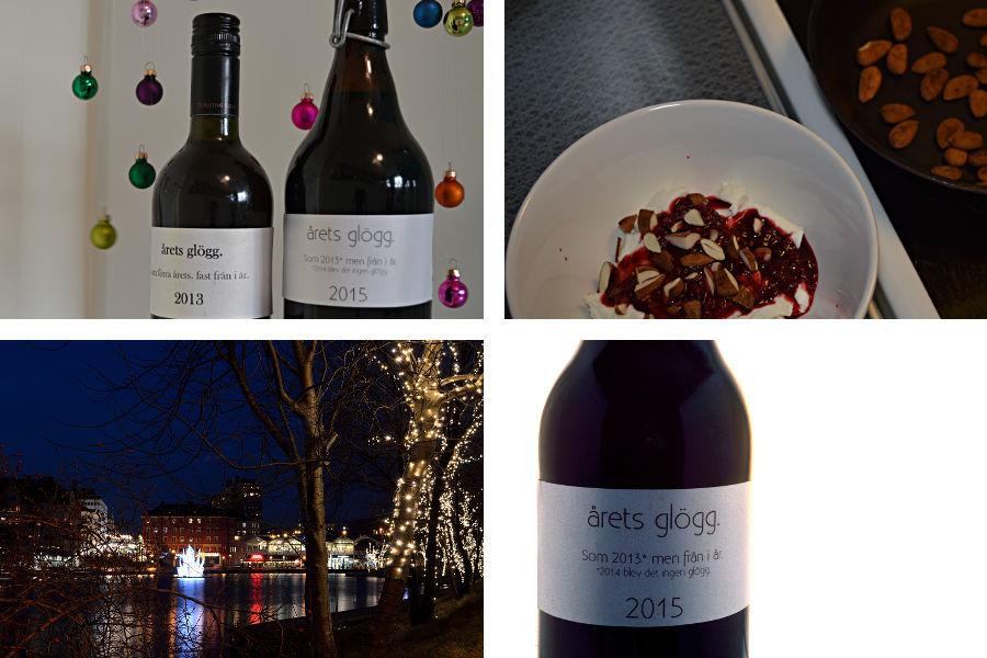 Glöggflaskor från 2013 och 2014, hallon och yoghurtfrukost och kvällspromenad i hamnen.