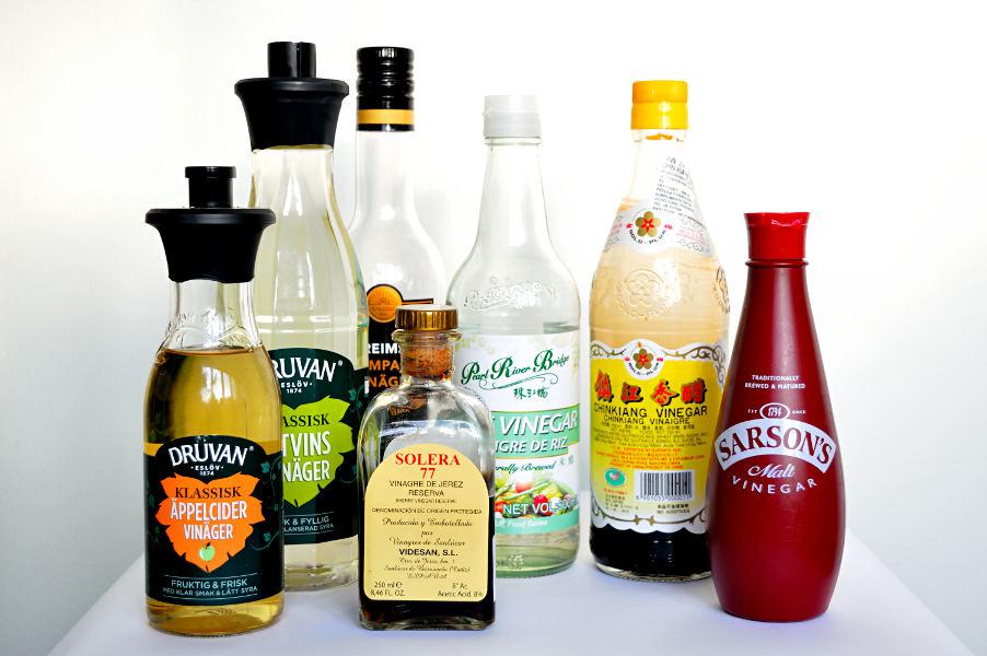 Vinäger: äpplecider-, vitvins-, champagne-, sherry-, ris-, chinkiang- och maltvinäger