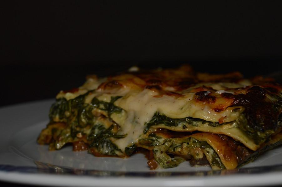 Lasagne med svamp och spenat