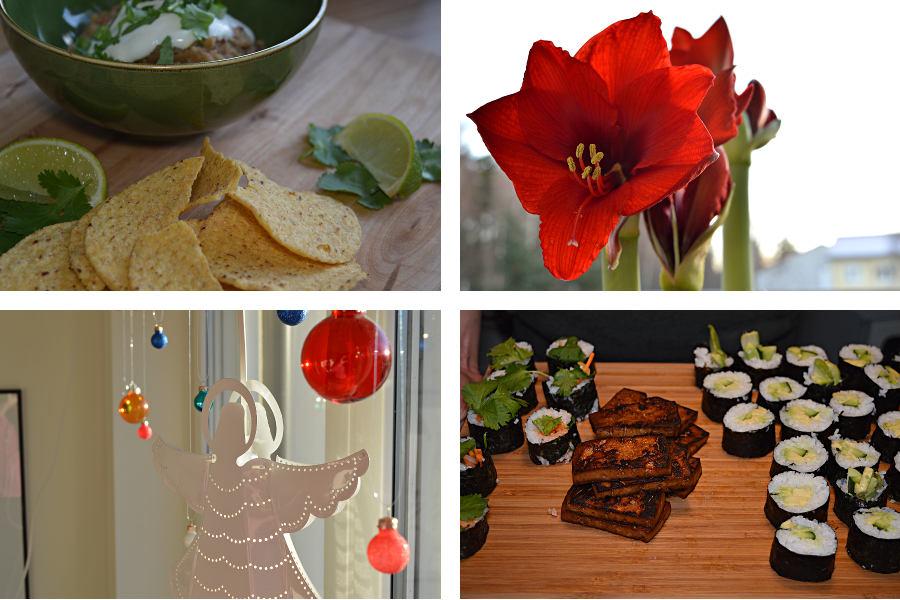 Refried beans, Amaryllis, Fönster med julkulor och ängel, sushi med tofu