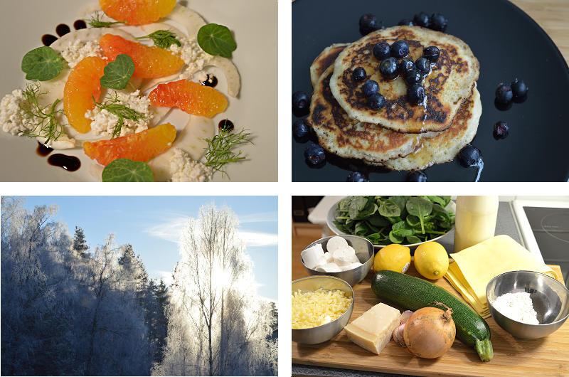 Apelsin och fänkålssallad, pannkakor med blåbär och lönnsirap, vinterträd och lasagneingredienser