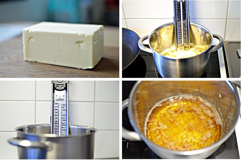 smör, kastrull med termometer, ghee med sediment