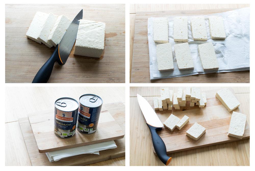 Tofu steg-för-steg: Skiva, pressa och strimla