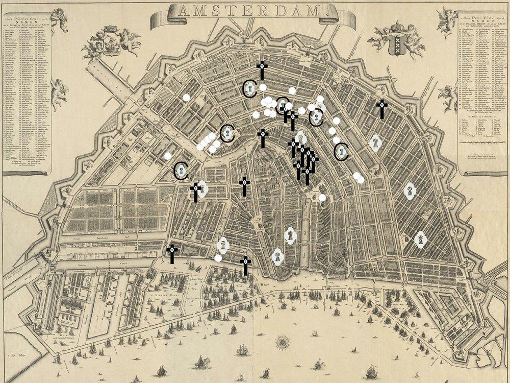 Overzicht locaties met werken van Jacob de Wit in Amsterdam, kaart M. Broen plattegrond van Amsterdam, 1744 Gemeentearchief, Amsterdam