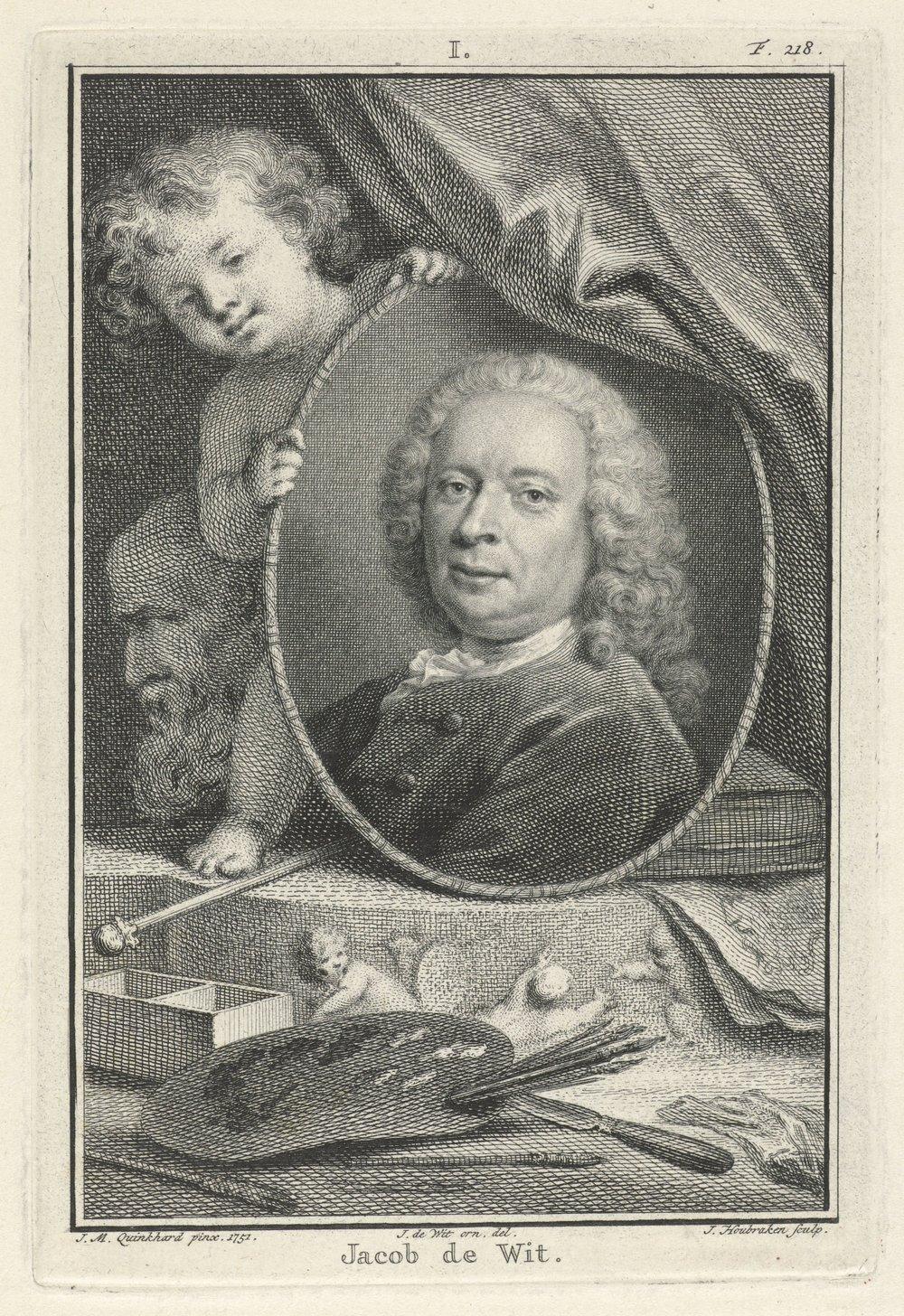Portret van de kunstenaar Jacob de Wit in een ovaal medaillon dat wordt vastgehouden door een putto. Op de voorgrond liggen schilders-benodigheden. Ets oorspronkelijk gemaakt door Jan Houbraken, 1751. Foto: collectie Rijksmuseum