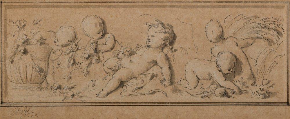Ontwerpschets 'Lente en Zomer', Jacob de Wit, 1747. Oorspronkelijke locatie buitenplaats Outshoorn Rijswijk.Collectie Haags Gemeentearchief, Den Haag. Foto: Onno van Seggelen