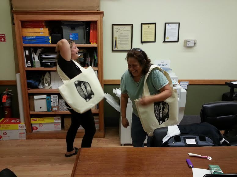 POME 7 Heidi and Kelly laughing with bags we made.jpg