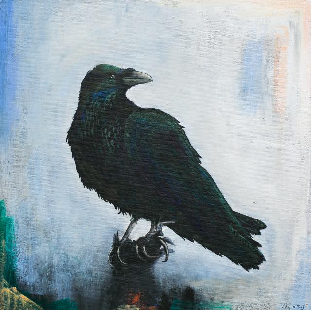 """"""" RAVEN """" 50X50CM  - Acryl on canvas, sort træramme     SOLGT"""