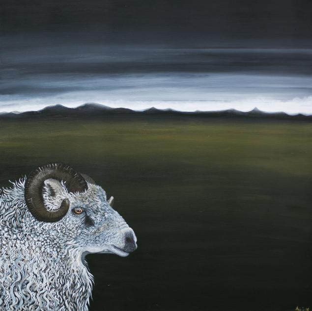 """"""" VÆDDEREN """" 80X8oCM  - Acryl on canvas, sort træramme     SOLGT"""