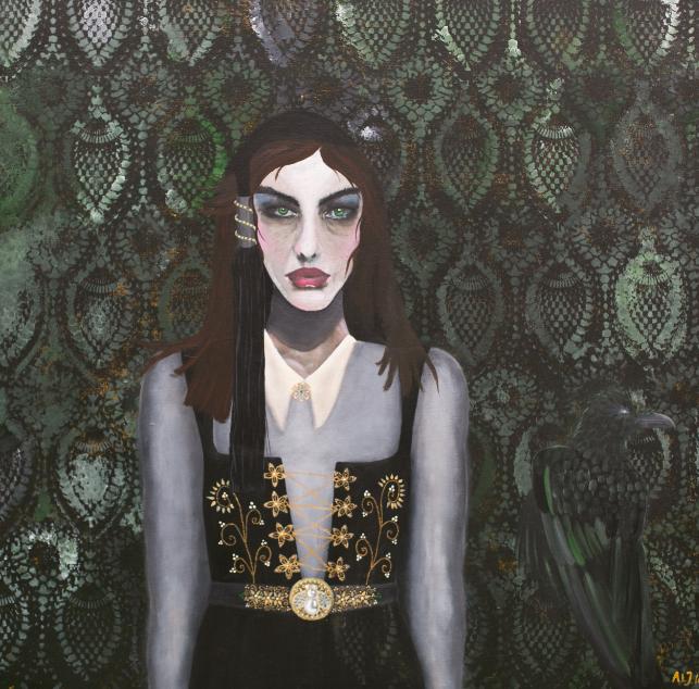""" ICELANDIC   WOMAN "" 90X90CM  - Acryl on canvas     SOLGT"