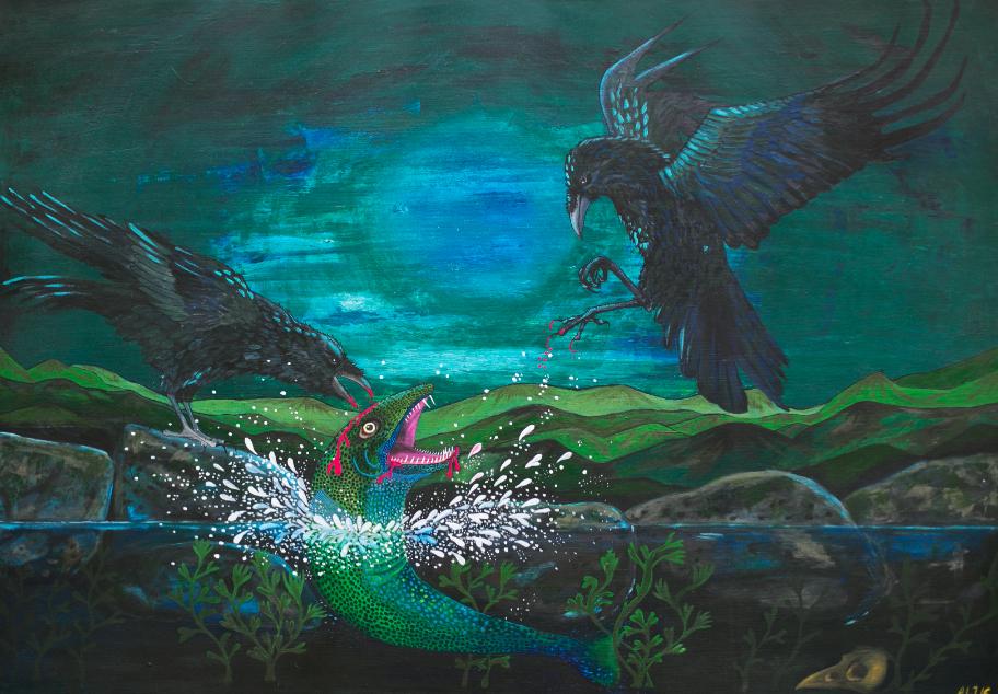 """""""  NATURE    OF    AÐALVIK  """" 100X70CM - Acryl on canvas, sort træramme     SOLGT"""