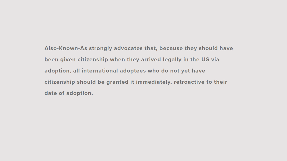 Citizenship for Adoptees Official Statement