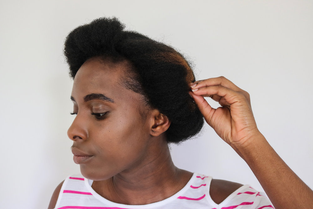 Pin if necessary. Neaten hair and gel down your edges as desired; but if you don't mind a messy and effortless look,then that's about it.