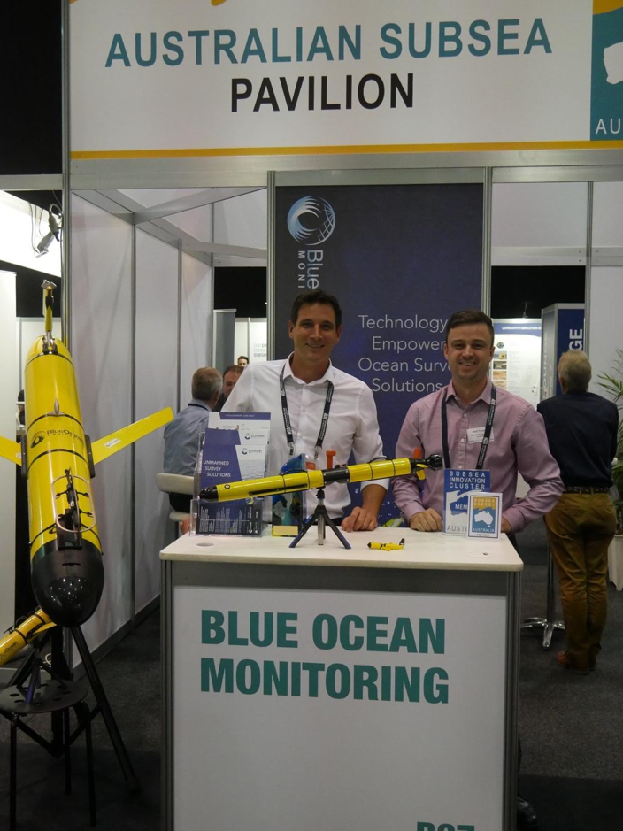 Keith and Niall on the Blue Ocean Monitoring booth with the IVER-3 front and centre