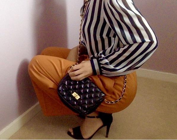 OUTFIT DETAILS: Blouse ( similar ) / Culottes ( similar ) / Heels ( similar ) / Bag ( similar )