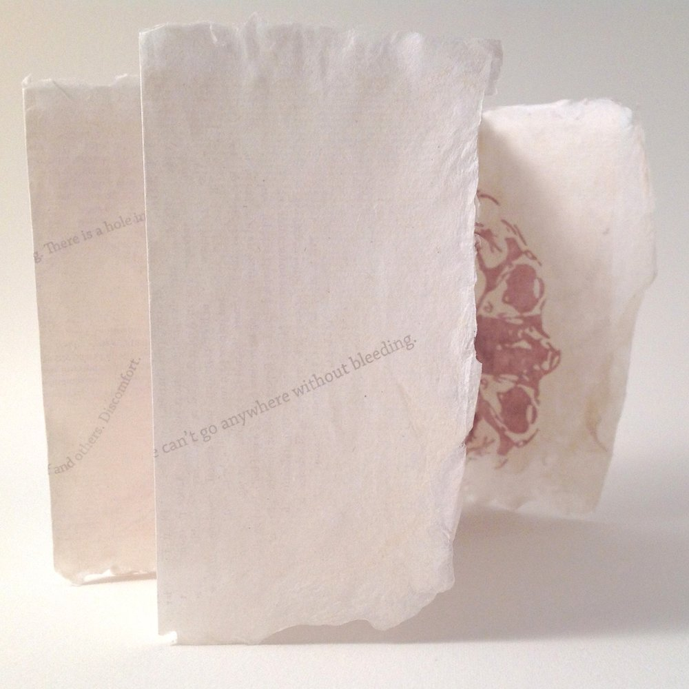 Papermaking - I love using natural fibers, including cotton, flax, abaca, and hemp, to create strong paper with bite anc ccharachter. I create paper sculptures, and sheets for my books.