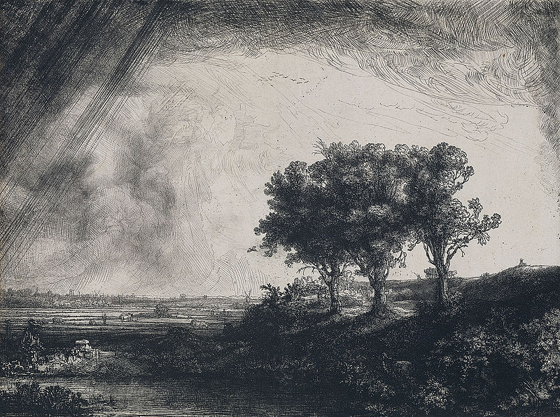 The Three Trees, Rembrandt, circa 1643