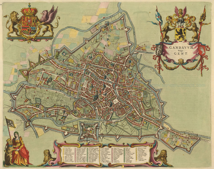 Antique Map of Gent by Blaeu J, 1649