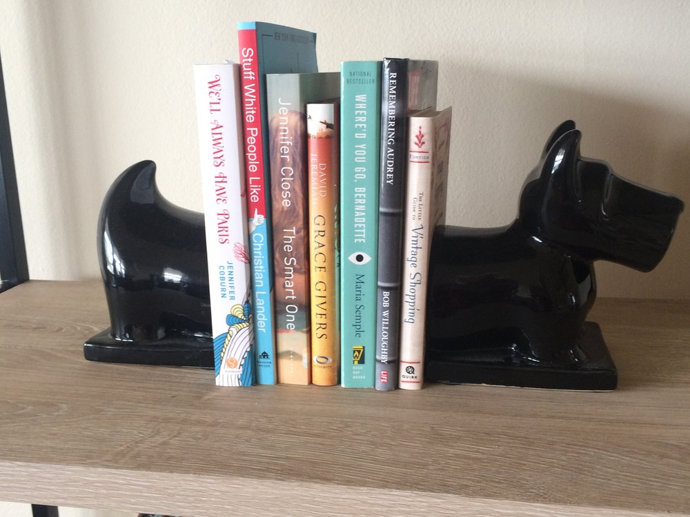 Scottie dog bookends from Target - I got these a few years ago and they no longer carry them, but I googled Scottish terrier bookends and there are a lot to choose from!