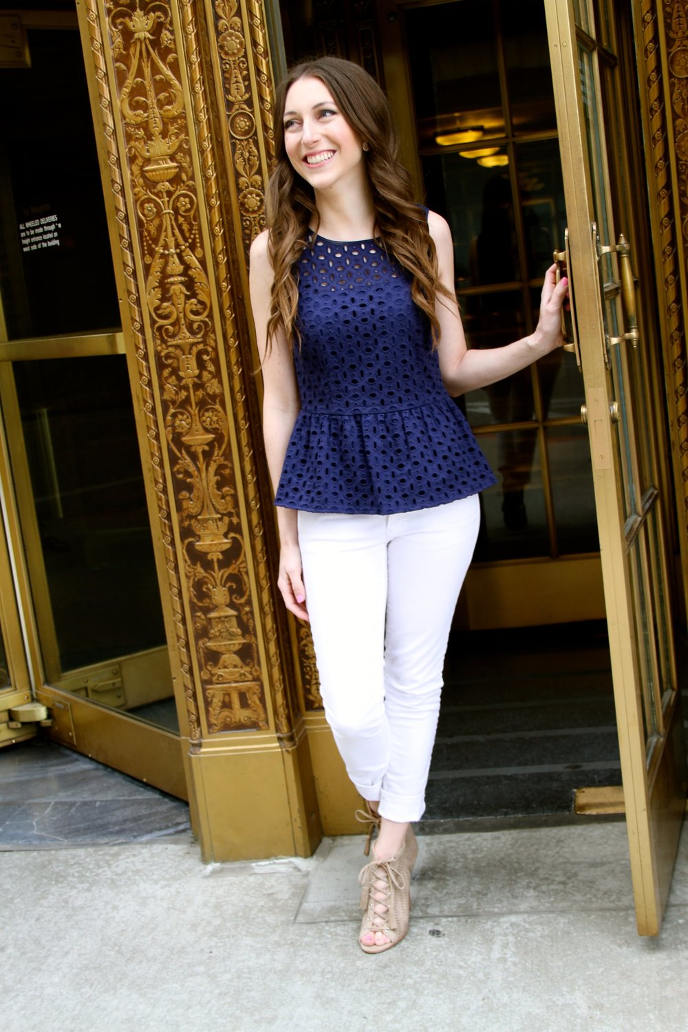 Top:  Dillards (no longer available).  Shoes: DSW.  Jeans:  Gap