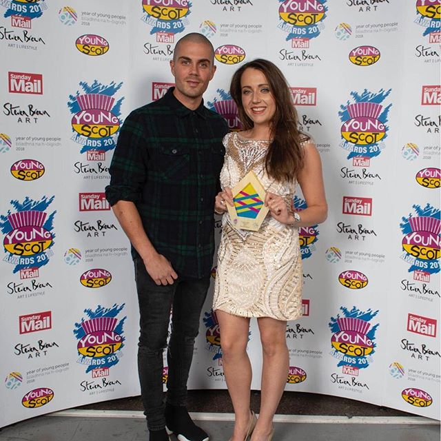 Well done Eilidh, being presented her Enterprise award by The Wanted's Max George 😁❤️. Looking stunning in our Angel Forever dress #AF1875 #youngscotawards #SECC #enterpriseaward #angelforever #awardsceremony #ballgown #eveningdress #goldandivory #maxgeorge #thewanted #luxurydress #dresshireandsales