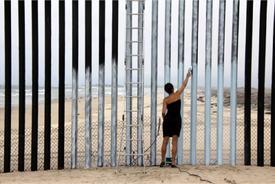 Image: Ana Teresa Fernandez, Erasing the Border (Borrando la Frontera), 2012. Video. 3 minutes 38 seconds. Edition 2/5. Courtesy Gallery Wendi Norris.