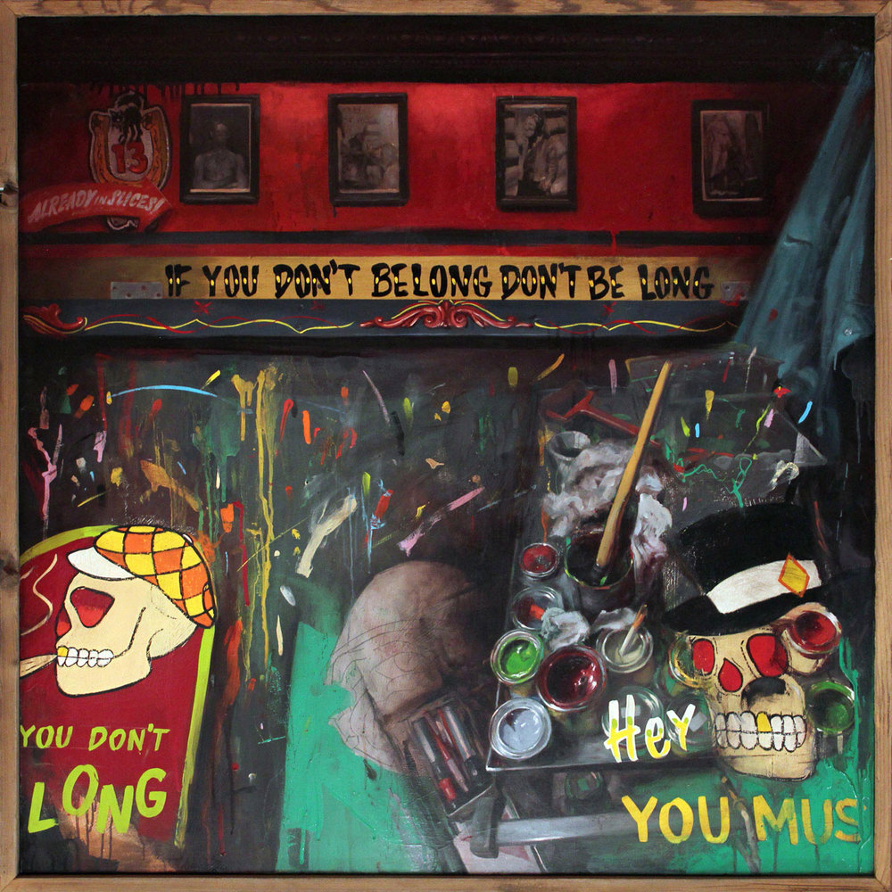 "'Ernie Gosnell's Hideout Inside the Hideout', oil on wood, 36"" x 36"", 2014, Personal Collection"